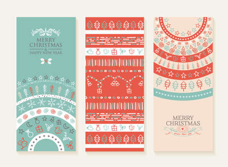 holiday decorations: Merry christmas happy new year set of banners and seamless pattern