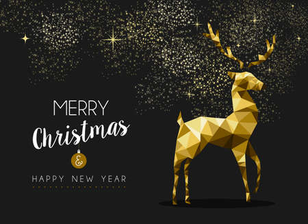elegant christmas: Merry christmas happy new year fancy gold deer shape in hipster origami style Illustration