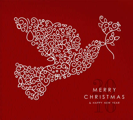 doves: Merry christmas and happy new year art deco Illustration