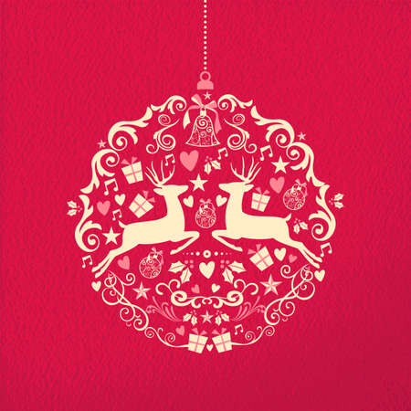 venado: Feliz feliz forma nuevo bal�n a�os adorno de Navidad en papel rojo textura de fondo Vectores