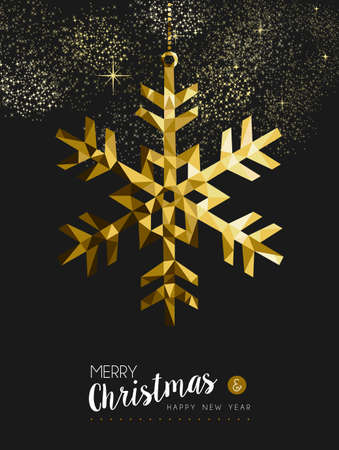 season greetings: Merry christmas happy new year fancy gold winter snowflake shape in hipster origami style Illustration