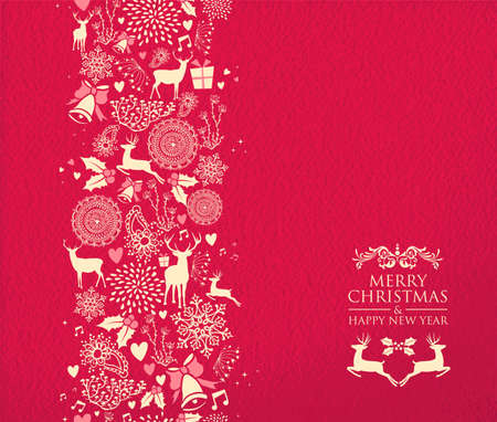 merry christmas happy new year seamless pattern design on red texture background stock vector 47165661