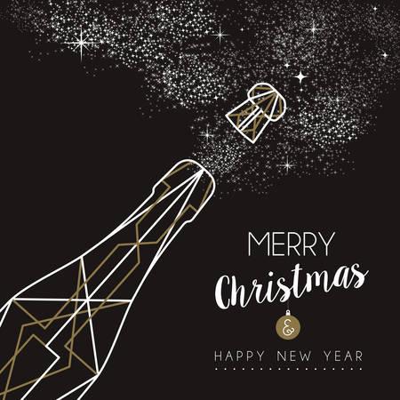 botella: Feliz nuevo dise�o de la botella de champ�n a�o Feliz Navidad en el arte deco estilo de esquema Vectores