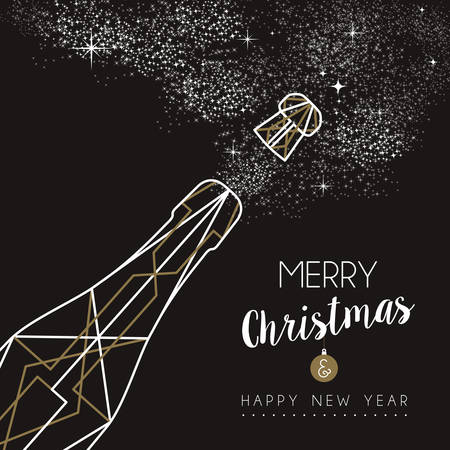 new year greetings: Merry christmas happy new year champagne bottle design in art deco outline style Illustration