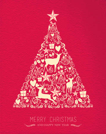vintage design: Merry christmas happy new year pine tree design on red paper texture background