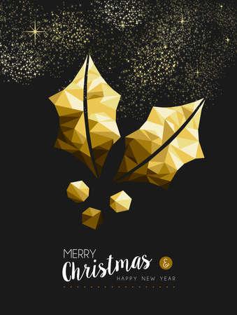 Joyeux Noël et bonne année de fantaisie or de houx usine dans le style de triangle de hippie. Idéal pour la carte de Noël de voeux ou d'invitation de fête de Noël élégant. Vecteur EPS10.