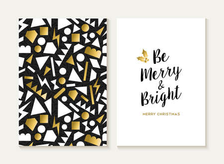texts: Merry Christmas card template set with retro 80s style seamless pattern and trendy Xmas text in gold metallic color. Ideal for holiday greetings. EPS10 vector.