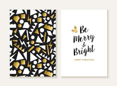 navidad elegante: Plantilla de la tarjeta Feliz Navidad conjunto con 80s retro Modelo incons�til del estilo y de moda de texto de Navidad de color oro met�lico. Ideal para felicitaciones. Vector EPS10. Vectores