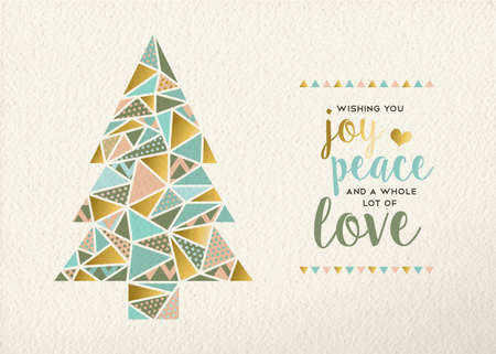 card: Merry christmas Happy new year triangle pine tree design in retro geometry style with gold and pastel color on texture background. Ideal for xmas greeting card or holiday event. EPS10 vector.
