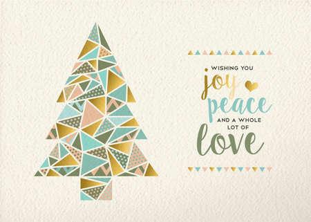 Vrolijke Kerstmis Gelukkig nieuw jaar driehoek dennenboom ontwerp in retro geometrie stijl met goud en pastel kleur op textuur achtergrond. Ideaal voor xmas wenskaart of een vakantie evenement. EPS10 vector. Stock Illustratie
