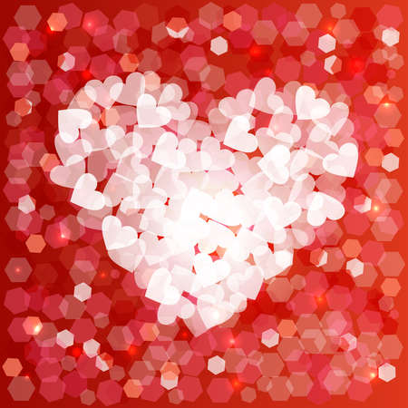 Happy valentines day love heart shape design in bokeh style. Ideal for love card background, wedding invitation or birthday. EPS10 vector.