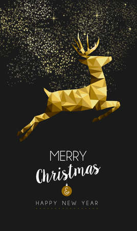 vintage invitation: Merry christmas and happy new year fancy gold deer jumping in hipster triangle low poly style. Ideal for xmas card or elegant holiday party invitation. EPS10 vector.