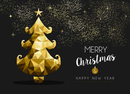 holiday party: Merry christmas and happy new year fancy golden pine tree in hipster triangle style. Ideal for xmas greeting card or elegant holiday party invitation. EPS10 vector.