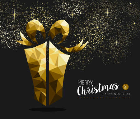 xmas: Merry christmas and happy new year fancy gold gift box in hipster triangle low poly style. Ideal for xmas greeting card or elegant holiday party invitation. EPS10 vector. Illustration