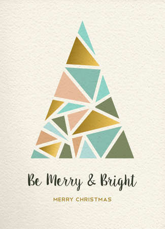 metal background: Merry christmas triangle pine tree design in retro geometry style with gold and pastel color on texture background. Ideal for xmas greeting card or holiday event. EPS10 vector. Illustration