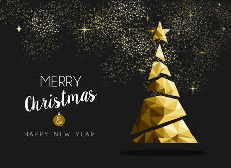 card: Merry christmas and happy new year fancy gold xmas tree in hipster low poly triangle style. Ideal for greeting card or elegant holiday party invitation. EPS10 vector.