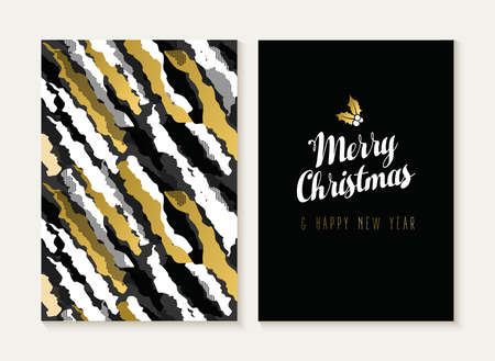 merry: Merry Christmas and Happy new year card template set with retro 80s style seamless pattern and trendy holiday text in gold metallic color. Ideal for xmas greetings. EPS10 vector.
