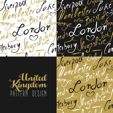 famous cities: Travel England UK famous cities with handmade calligraphy. London city, Manchester, Liverpool, Oxford, Bristol. Seamless pattern ideal for own design, wrapping paper or web. EPS10 vector.