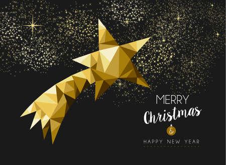 Joyeux Noël et Bonne Année or de fantaisie étoile filante en taille basse poly style de triangle. Idéal pour la carte de Noël de voeux ou d'invitation de fête de Noël élégant. Vecteur EPS10. Illustration