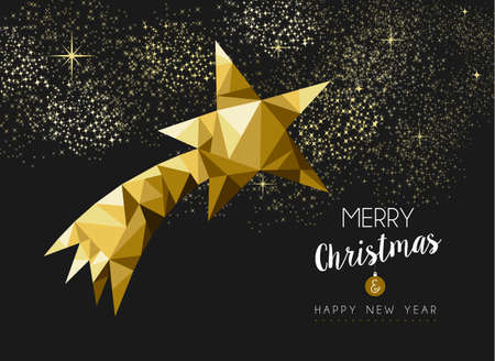 metal background: Merry christmas and happy new year fancy gold shooting star in hipster low poly triangle style. Ideal for xmas greeting card or elegant holiday party invitation. EPS10 vector. Illustration