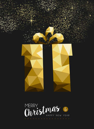 xmas background: Merry christmas and happy new year fancy gold xmas gift in hipster triangle low poly style. Ideal for greeting card or elegant holiday party invitation. EPS10 vector.