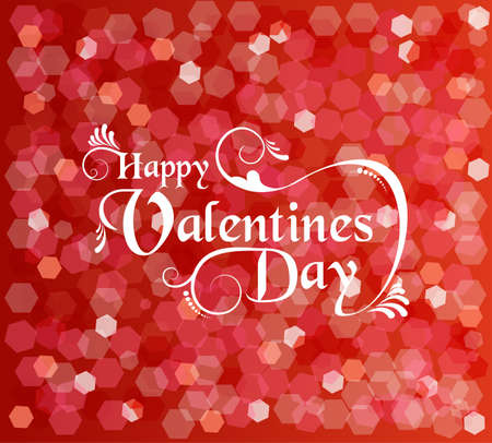 valentines day background: Happy valentines day card with ornament text and bokeh lights background. EPS10 vector.