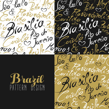 brasilia: Travel Brazil South america famous with handmade calligraphy. Rio de Janeiro city, Bahia, Sao Paulo, Curitiba, Brasilia. Seamless pattern ideal for own design, wrapping paper or web. EPS10 vector.