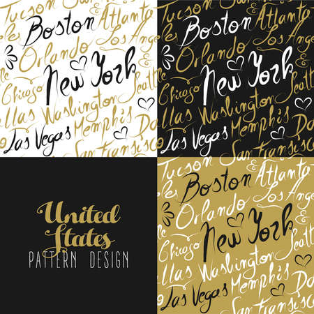 francisco: Travel America USA famous cities with handmade calligraphy. New york city, Chicago, Washington, Las Vegas, Los Angeles. Seamless pattern ideal for own design, wrapping paper or web. EPS10 vector.