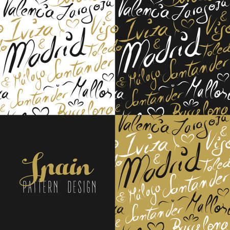 famous cities: Travel Spain Europe famous cities with handmade calligraphy. Madrid city, Barcelona, Mallorca, Toledo, Santander. Seamless pattern ideal for own design, wrapping paper or web. EPS10 vector.