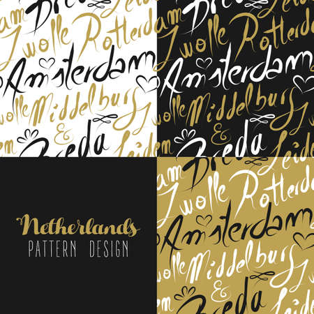 rotterdam: Travel Netherlands Europe famous cities with handmade calligraphy. Amsterdam city, Rotterdam, Breda, Leiden, Zwolle. Seamless pattern ideal for own design, wrapping paper or web. EPS10 vector. Illustration