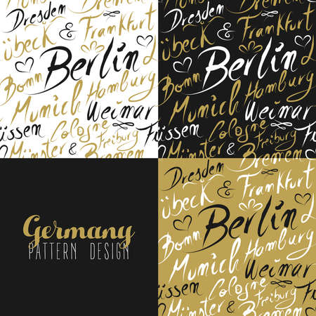 bremen: Travel Germany Europe famous cities with handmade calligraphy. Berlin city, Hamburg, Frankfurt, Munich, Bremen. Seamless pattern ideal for own design, wrapping paper or web. EPS10 vector. Illustration