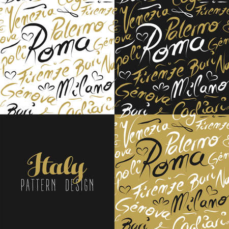 Travel Italy Europe famous cities with handmade calligraphy. Milan city, Rome, Florence, Napoli, Palermo. Seamless pattern ideal for own design, wrapping paper or web. EPS10 vector. Illustration