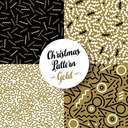 xmas parties: Merry Christmas seamless pattern set of fancy golden geometry designs in 80s retro style. Ideal for Xmas greeting card, web, or holiday party invitation. EPS10 vector.