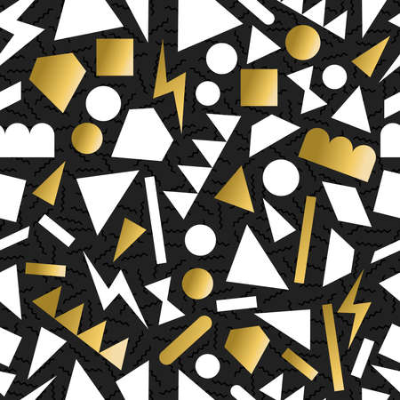 유행: 멋진 황금 복고 80 년대 패션 완벽 한 패턴 형상 그림 배경입니다. 인사말 카드 디자인, 인쇄 또는 웹에 적합합니다. EPS10 벡터 파일입니다. 일러스트