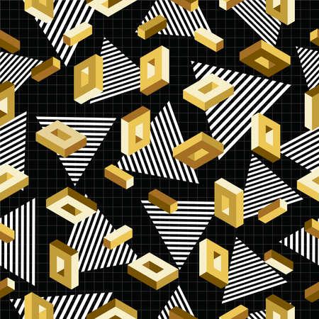 geometria: Vintage 80s retros 3d estilo de la moda sin patr�n de color oro met�lico elegante. Ideal para tarjetas de felicitaci�n, impresi�n de papel y fondo de la web. Vector EPS10. Vectores