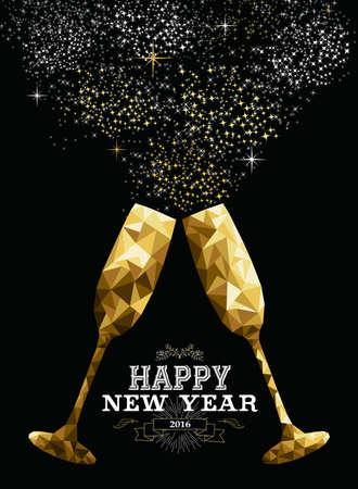 brindisi spumante: Felice anno nuovo 2016 occhiali d'oro fantasia per un brindisi a triangolo di pantaloni a vita bassa stile low poly. Ideale per biglietto di auguri o invito elegante partito di festa. EPS10 vettore.