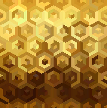 Fancy golden isometric 3d cube shape seamless pattern in low poly style. Ideal for web background, print, or greeting card. EPS10 vector. Illustration
