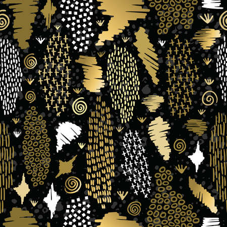 african fashion: Fancy golden boho seamless pattern with retro tribal shapes on blackboard background. Ideal for greeting card design, print or web. EPS10 vector file. Illustration