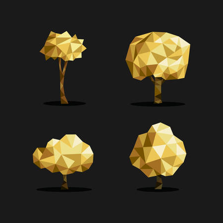 low poly: Set of polygon triangle low poly tree illustrations in gold metallic color. Ideal for web icon, ecology brochure or botany book cover. EPS10 vector file. Illustration