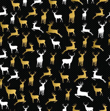 renna: Buon pantaloni a vita bassa Natale renna d'oro sfondo seamless. Ideale per biglietto di auguri vacanza, carta da imballaggio o di natale campagna. EPS10 vettore.