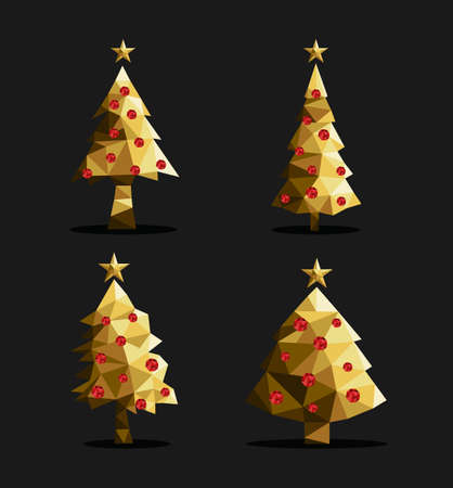 are gold: Set of polygon christmas pine trees low poly triangle style with xmas ornaments and star on top in gold metallic color. EPS10 vector.