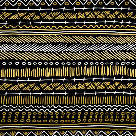 pattern is: Fancy golden boho seamless pattern with retro tribal elements and lines on blackboard background. Ideal for greeting card design, print or web. EPS10 vector file. Illustration