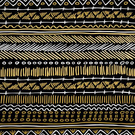 indische muster: Fancy goldenen Boho nahtlose Muster mit Retro-Stammes-Elemente und Linien auf Tafel Hintergrund. Ideal f�r Gru�karten-Design, Print oder Web. EPS10 Vektor-Datei. Illustration