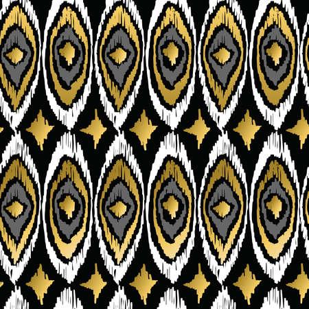 レトロな部族ファッション スタイルのシームレスなパターン背景黄金孔雀要素を空想しません。理想的なグリーティング カード、印刷と web の背景