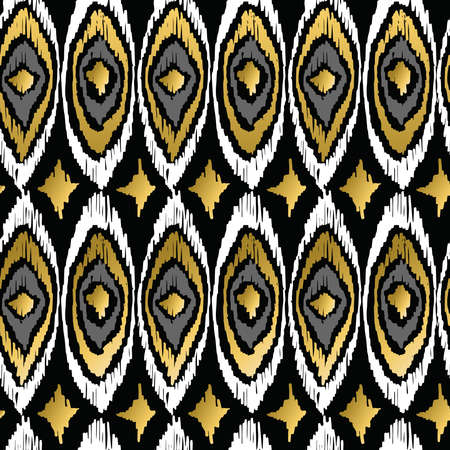 Fancy golden peacock elements retro tribal fashion style seamless pattern background. Ideal for greeting card, print and web backdrop. EPS10 vector file. Ilustração