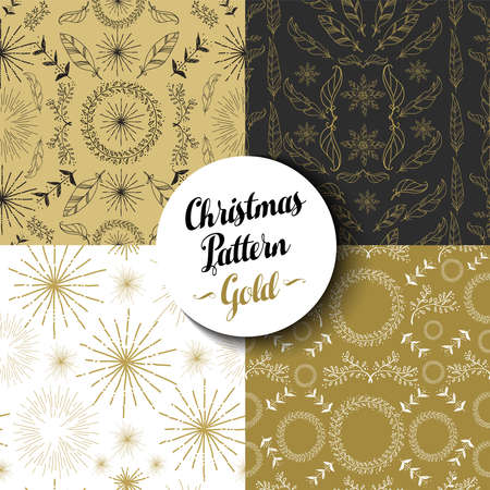 Merry Christmas seamless pattern set of fancy golden vintage designs: nature, firework explosion and boho elements. Ideal for Xmas greeting card, web, or holiday party invitation. EPS10 vector.