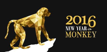 personas saludandose: 2016 Feliz A�o Nuevo Chino del Mono con lujo de oro bajo pol�gono mono tri�ngulo y la etiqueta de ilustraci�n. Vector EPS10.