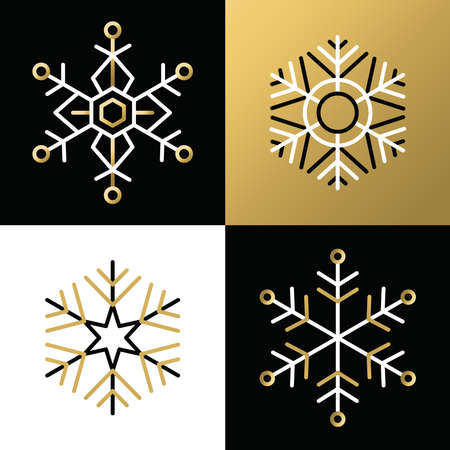 outline of: Set of elegant flat golden snowflakes in outline style. Ideal for christmas greeting card or app icon design. EPS10 vector file.