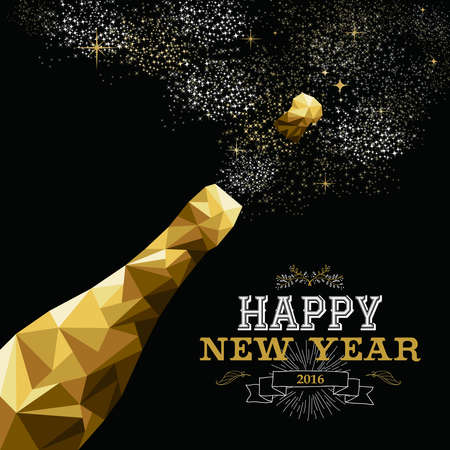 新年あけましておめでとうございます 2016年ヒップスター三角形低ポリゴン スタイルにファンシーなゴールド シャンパン ボトル。グリーティング