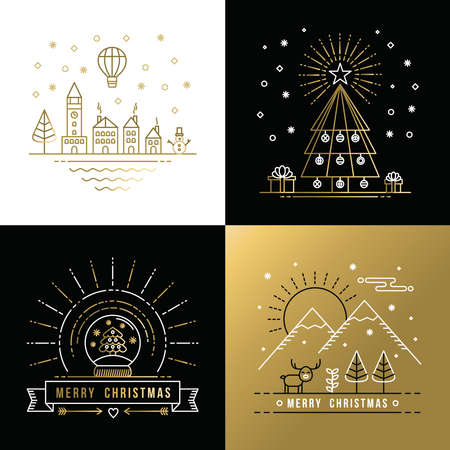 sky line: Merry Christmas golden outline label set with winter city, xmas tree, snow globe, and reindeer elements. Ideal for holiday invitation or greeting card. EPS10 vector.